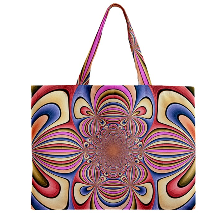 Pastel Shades Ornamental Flower Zipper Mini Tote Bag
