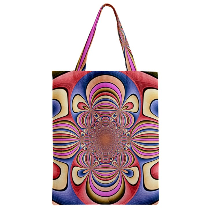 Pastel Shades Ornamental Flower Zipper Classic Tote Bag