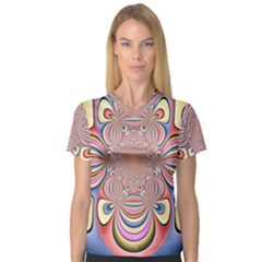 Pastel Shades Ornamental Flower Women s V Neck Sport Mesh Tee