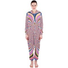 Pastel Shades Ornamental Flower Hooded Jumpsuit (ladies)