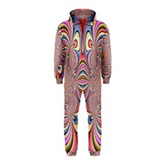 Pastel Shades Ornamental Flower Hooded Jumpsuit (Kids)