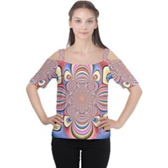 Pastel Shades Ornamental Flower Women s Cutout Shoulder Tee
