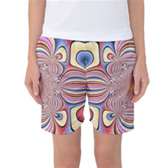 Pastel Shades Ornamental Flower Women s Basketball Shorts