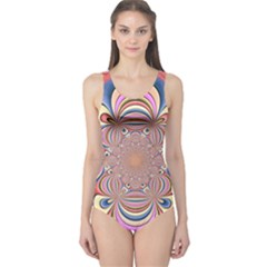 Pastel Shades Ornamental Flower One Piece Swimsuit