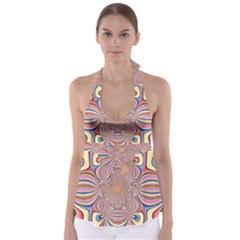 Pastel Shades Ornamental Flower Babydoll Tankini Top