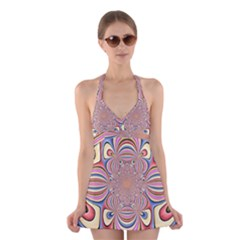 Pastel Shades Ornamental Flower Halter Swimsuit Dress
