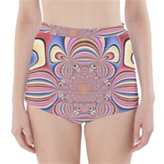 Pastel Shades Ornamental Flower High-Waisted Bikini Bottoms