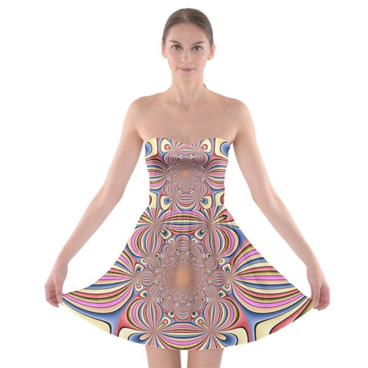 Pastel Shades Ornamental Flower Strapless Bra Top Dress