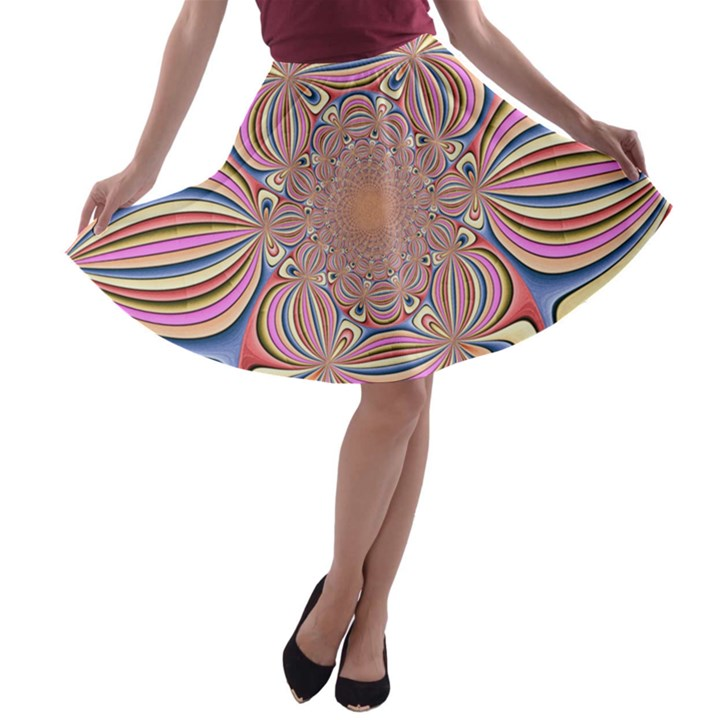 Pastel Shades Ornamental Flower A-line Skater Skirt