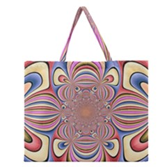 Pastel Shades Ornamental Flower Zipper Large Tote Bag