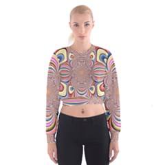 Pastel Shades Ornamental Flower Women s Cropped Sweatshirt