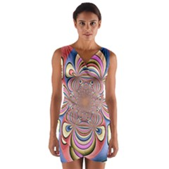 Pastel Shades Ornamental Flower Wrap Front Bodycon Dress