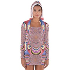 Pastel Shades Ornamental Flower Women s Long Sleeve Hooded T Shirt