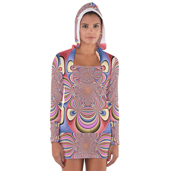 Pastel Shades Ornamental Flower Women s Long Sleeve Hooded T-shirt