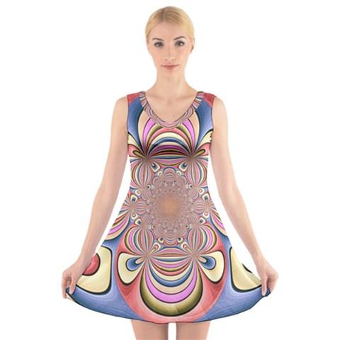 Pastel Shades Ornamental Flower V-Neck Sleeveless Skater Dress