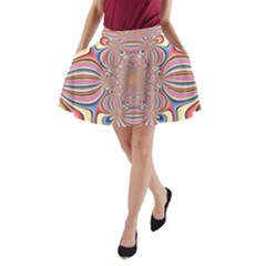 Pastel Shades Ornamental Flower A-Line Pocket Skirt