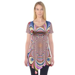 Pastel Shades Ornamental Flower Short Sleeve Tunic
