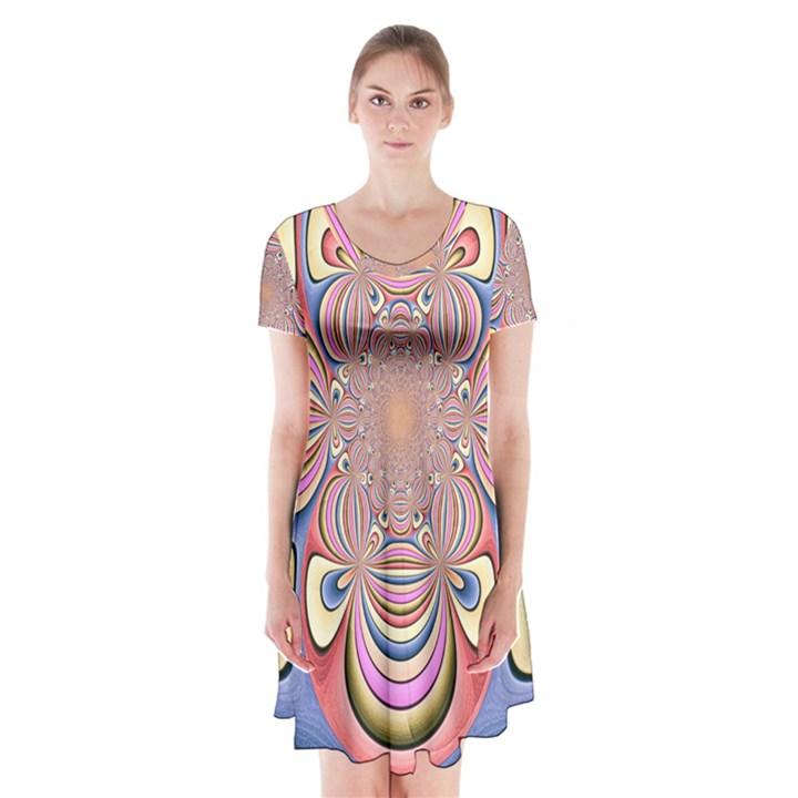 Pastel Shades Ornamental Flower Short Sleeve V-neck Flare Dress