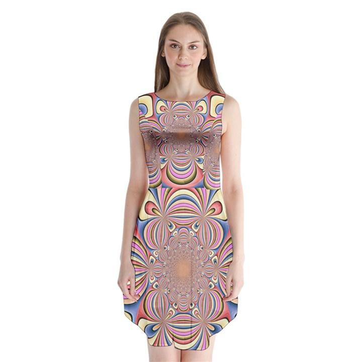 Pastel Shades Ornamental Flower Sleeveless Chiffon Dress