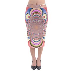 Pastel Shades Ornamental Flower Midi Pencil Skirt