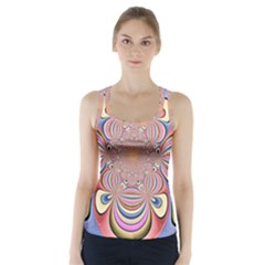 Pastel Shades Ornamental Flower Racer Back Sports Top