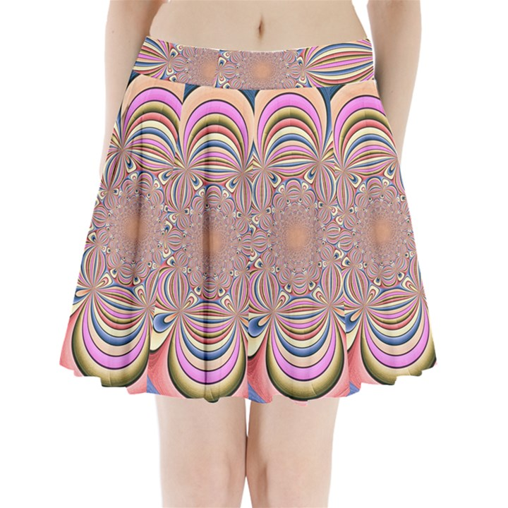Pastel Shades Ornamental Flower Pleated Mini Skirt