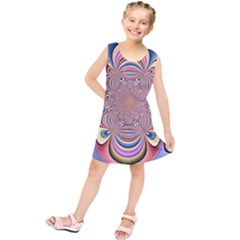 Pastel Shades Ornamental Flower Kids  Tunic Dress