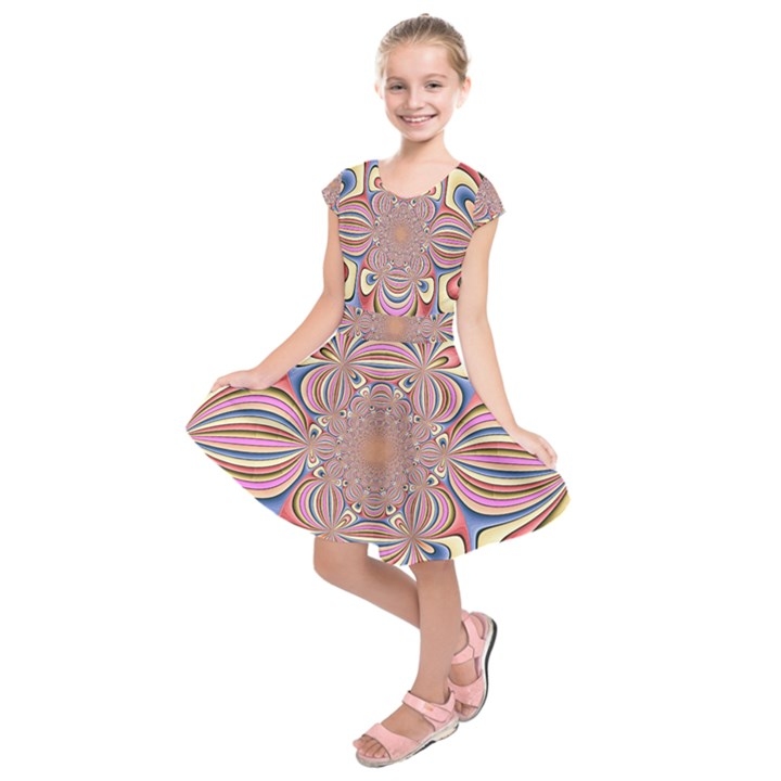 Pastel Shades Ornamental Flower Kids  Short Sleeve Dress