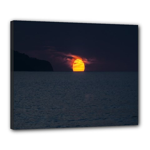 Sunset Ocean Azores Portugal Sol Canvas 20  x 16