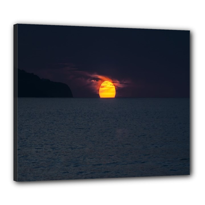Sunset Ocean Azores Portugal Sol Canvas 24  x 20