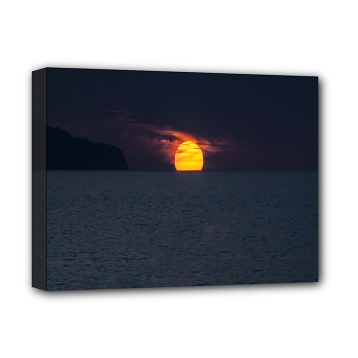 Sunset Ocean Azores Portugal Sol Deluxe Canvas 16  x 12