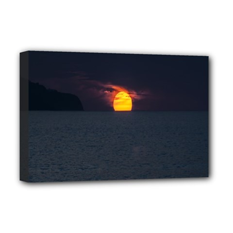 Sunset Ocean Azores Portugal Sol Deluxe Canvas 18  x 12