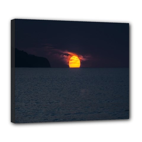 Sunset Ocean Azores Portugal Sol Deluxe Canvas 24  x 20