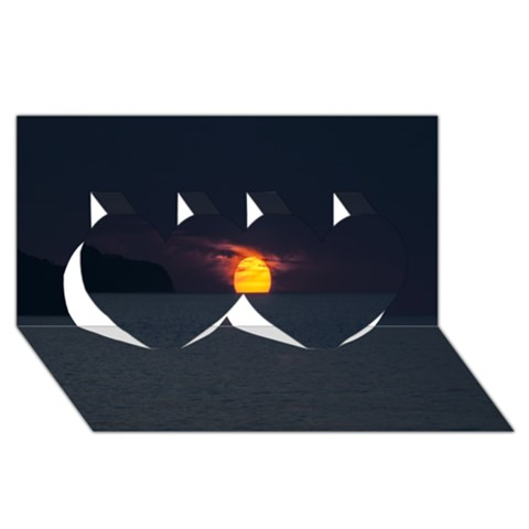 Sunset Ocean Azores Portugal Sol Twin Hearts 3D Greeting Card (8x4)