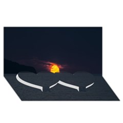 Sunset Ocean Azores Portugal Sol Twin Heart Bottom 3D Greeting Card (8x4)