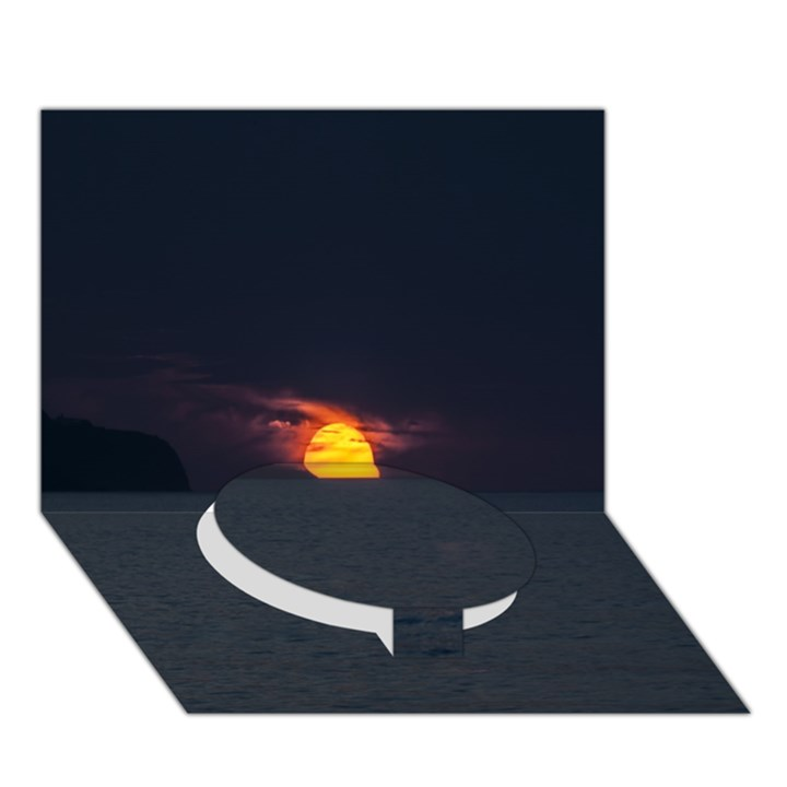 Sunset Ocean Azores Portugal Sol Circle Bottom 3D Greeting Card (7x5)
