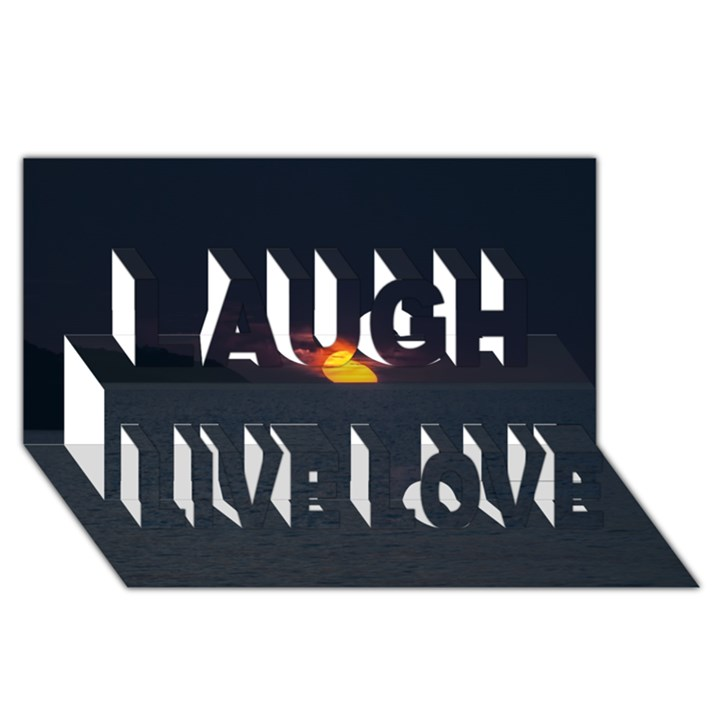 Sunset Ocean Azores Portugal Sol Laugh Live Love 3D Greeting Card (8x4)