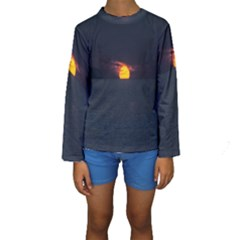 Sunset Ocean Azores Portugal Sol Kids  Long Sleeve Swimwear