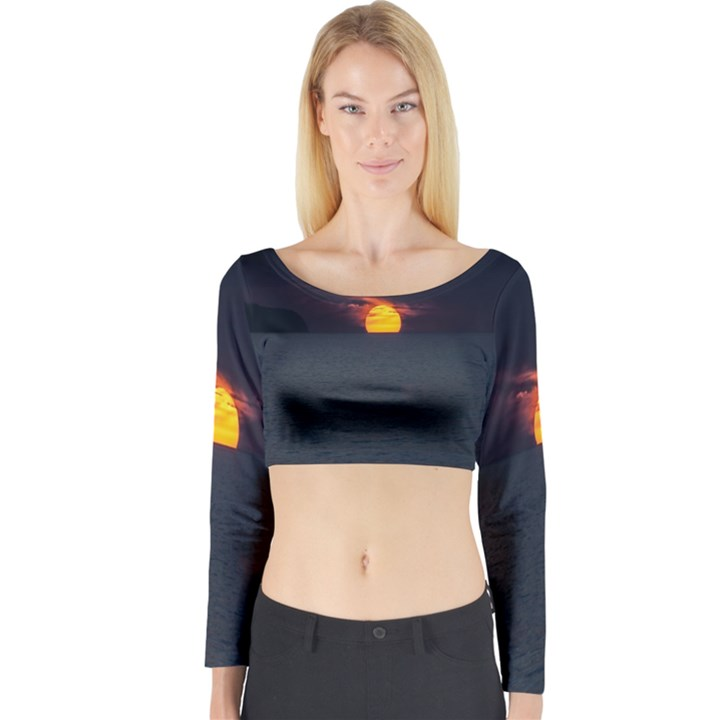 Sunset Ocean Azores Portugal Sol Long Sleeve Crop Top