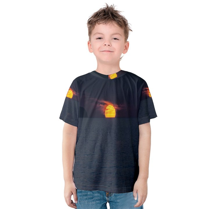 Sunset Ocean Azores Portugal Sol Kids  Cotton Tee