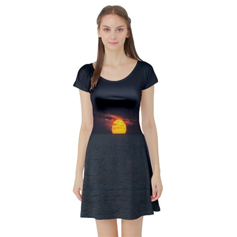 Sunset Ocean Azores Portugal Sol Short Sleeve Skater Dress