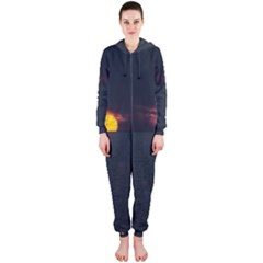 Sunset Ocean Azores Portugal Sol Hooded Jumpsuit (Ladies)