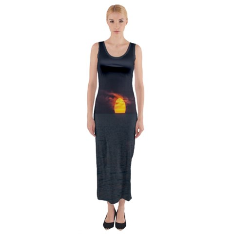 Sunset Ocean Azores Portugal Sol Fitted Maxi Dress
