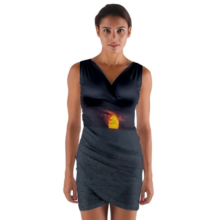 Sunset Ocean Azores Portugal Sol Wrap Front Bodycon Dress
