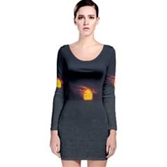 Sunset Ocean Azores Portugal Sol Long Sleeve Velvet Bodycon Dress