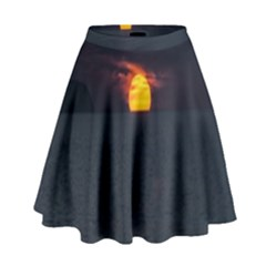 Sunset Ocean Azores Portugal Sol High Waist Skirt