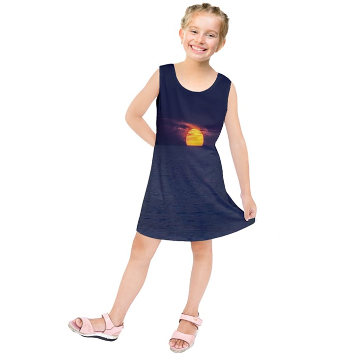Sunset Ocean Azores Portugal Sol Kids  Tunic Dress