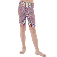 Pastel Shades Ornamental Flower Kids  Mid Length Swim Shorts