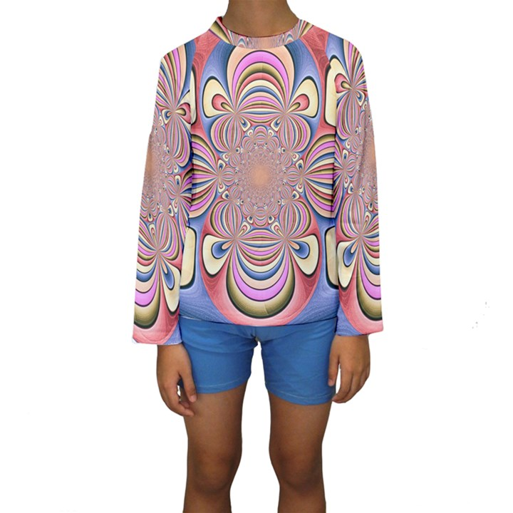 Pastel Shades Ornamental Flower Kids  Long Sleeve Swimwear