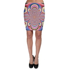 Pastel Shades Ornamental Flower Bodycon Skirt
